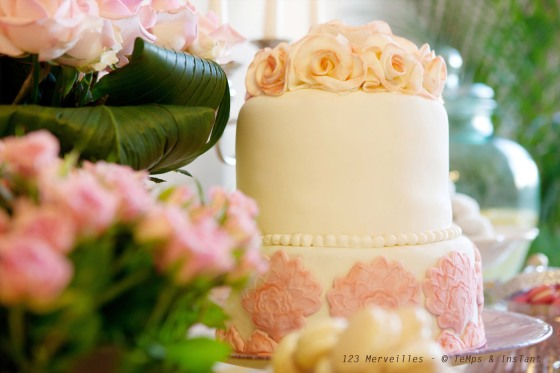 Sweet table yellow & rose tendre Wedding cake 123 merveilles