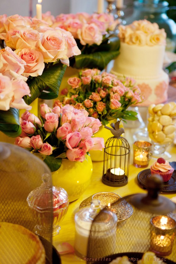 Sweet table Yellow & rose tendre anniversaire