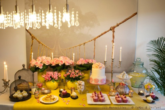 Sweet table yellow & rose anniversairetendre