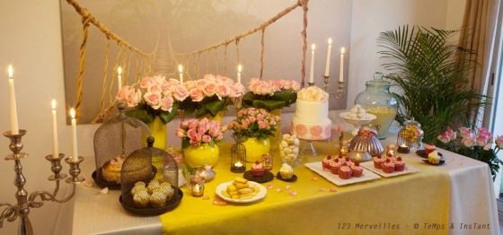 Sweet table Yellow & rose tendre 123 merveilles